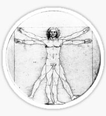 LEONARDO, Da Vinci, The Vitruvian Man, Naked, CIRCLE, c.1485, Academia, Venice, on BLACK Sticker