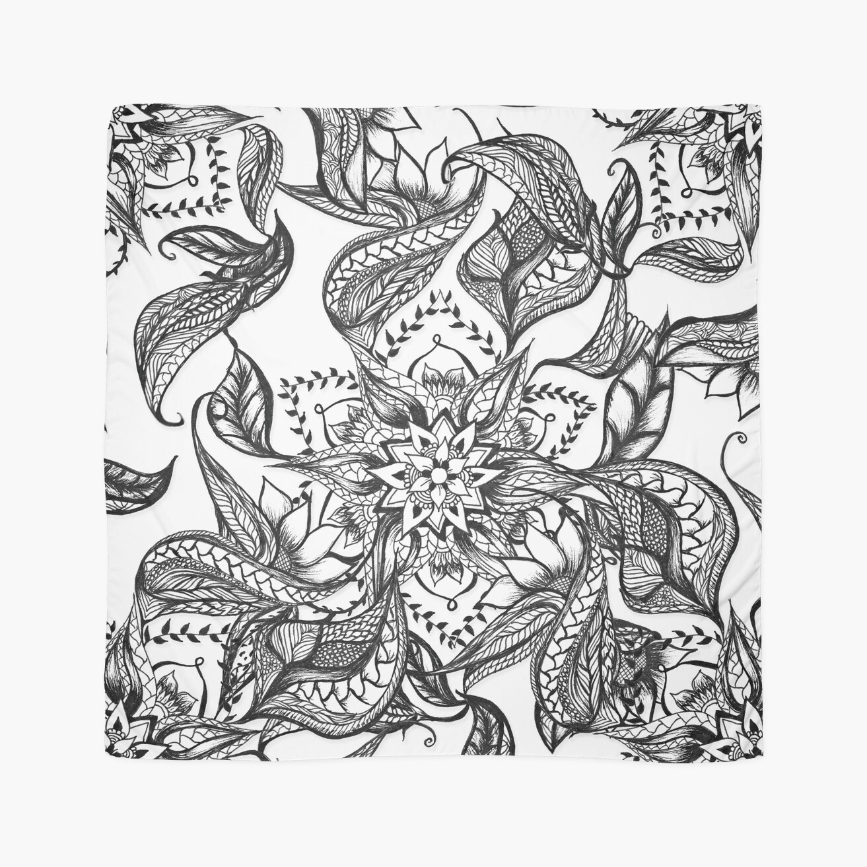 Modern black and white floral mandala illustration