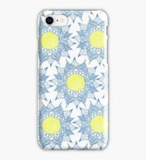 Boho blue henna mandala yellow sun pattern iPhone Case/Skin