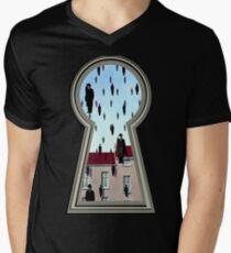 """""""Magritte from the lock"""" Men's V-Neck T-Shirt"""