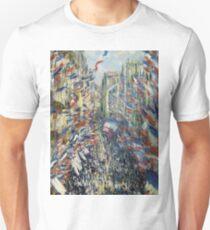 1878-Claude Monet-The Rue Montorgueil in Paris, Celebration of June 30, 1878-50 x 81 T-Shirt