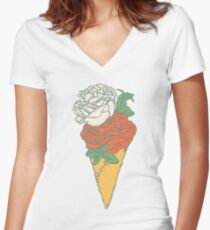 Rose ice cream Women's Fitted V-Neck T-Shirt