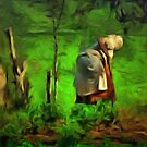 A Peasant Woman Tilling her Land in Romania by Dennis Melling