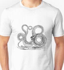 Vintage Boa Constrictor Snake Skeleton Illustration Retro 1800s Black and White Snakes  T-Shirt