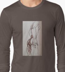 Male nude sketch in sepia  Long Sleeve T-Shirt