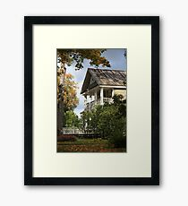 rural house with columns in autumn Framed Print