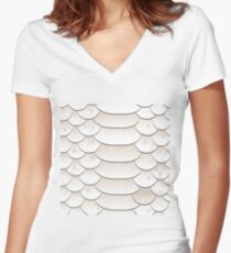 Snake skin texture Women's Fitted V-Neck T-Shirt
