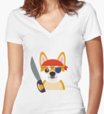 The Captain Shiba Women's Fitted V-Neck T-Shirt