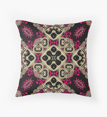 Hot Pink + Black Royale Throw Pillow