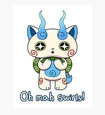 Yo-kai Watch Komasan - Oh mah swirls! Photographic Print
