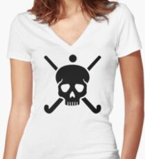 Field hockey skull Women's Fitted V-Neck T-Shirt