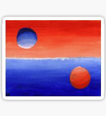 Pegatina Estudio abstracto anaranjado y azul en la pintura de los valores