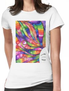 Woman with Rainbow hair Womens Fitted T-Shirt