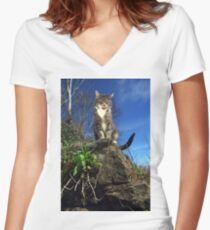 Hungry cat Women's Fitted V-Neck T-Shirt