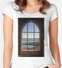 Superior view on Sirmione and Lake Garda in Italy Women's Fitted Scoop T-Shirt