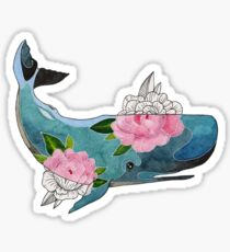 Blue cachalot whale with pink flowers Sticker