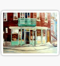 VINTAGE BAKERY MONTREAL CORNER STORE CANADIAN ART Sticker