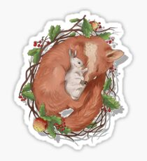 a Fox and a hare Sticker