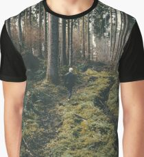 Boy walking through mystic forest landscape photography Graphic T-Shirt