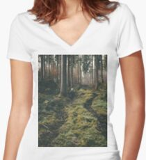 Boy walking through mystic forest landscape photography Women's Fitted V-Neck T-Shirt
