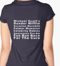 Michael Scott's Dunder Mifflin Scranton Meredith Palmer Memorial Celebrity Rabies Awareness Pro-Am Fun Run Race For The Cure Women's Fitted Scoop T-Shirt