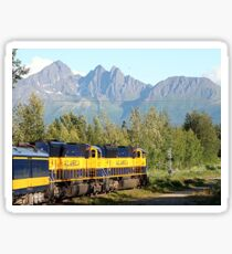 Alaska Railroad train and mountains Sticker
