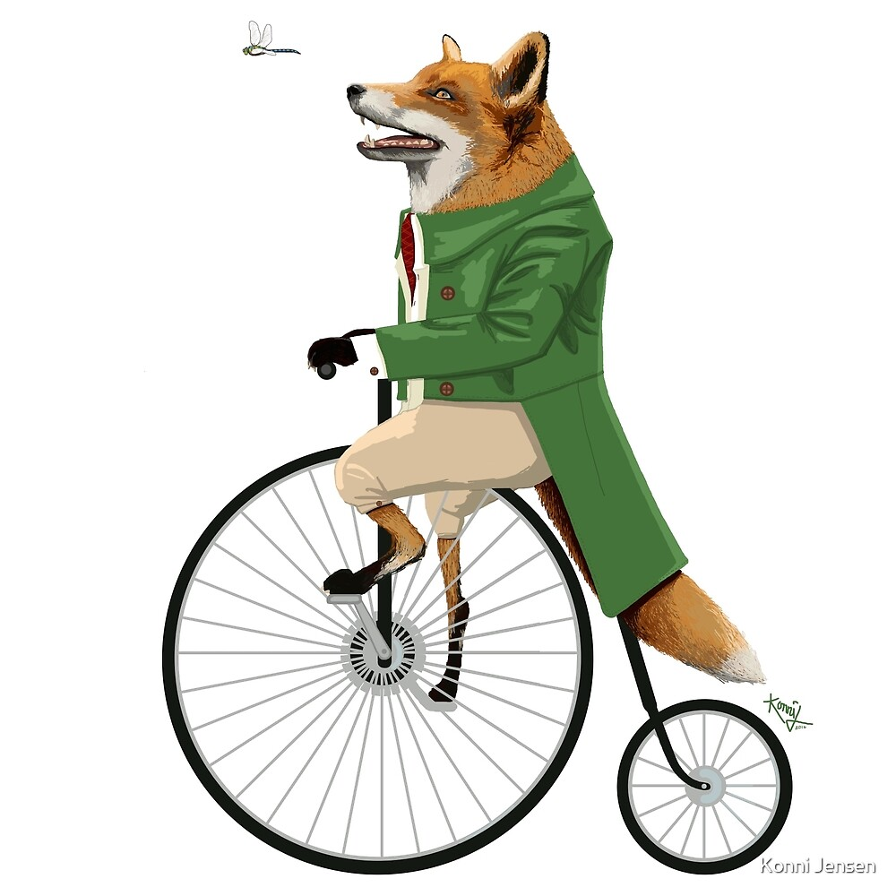 Fox riding bike in chase of dragonfly by Konni Jensen