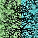 Abstract tree branches over blue and green background by cesarpadilla