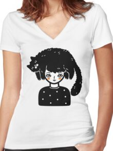 Cat Hair Women's Fitted V-Neck T-Shirt