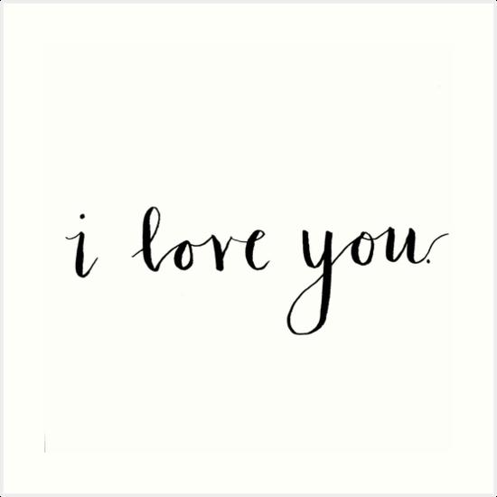 I Love You Modern Calligraphy Art Prints By