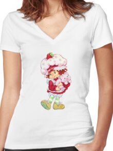Strawberry Shortcake & Custard Women's Fitted V-Neck T-Shirt