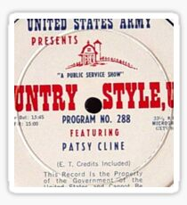 Patsy Cline, Country Style USA, US Army LP close up Sticker