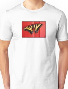 tiger swallowtail butterfly on unusual background Unisex T-Shirt
