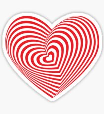 Red heart optical illusion 3d Sticker
