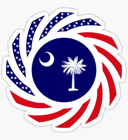 South Carolina Murican Patriot Flag Series Glossy Sticker