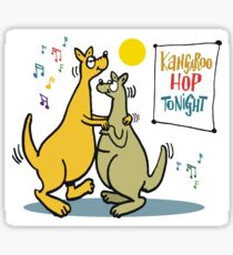 Cartoon of two kangaroos dancing together at disco Sticker