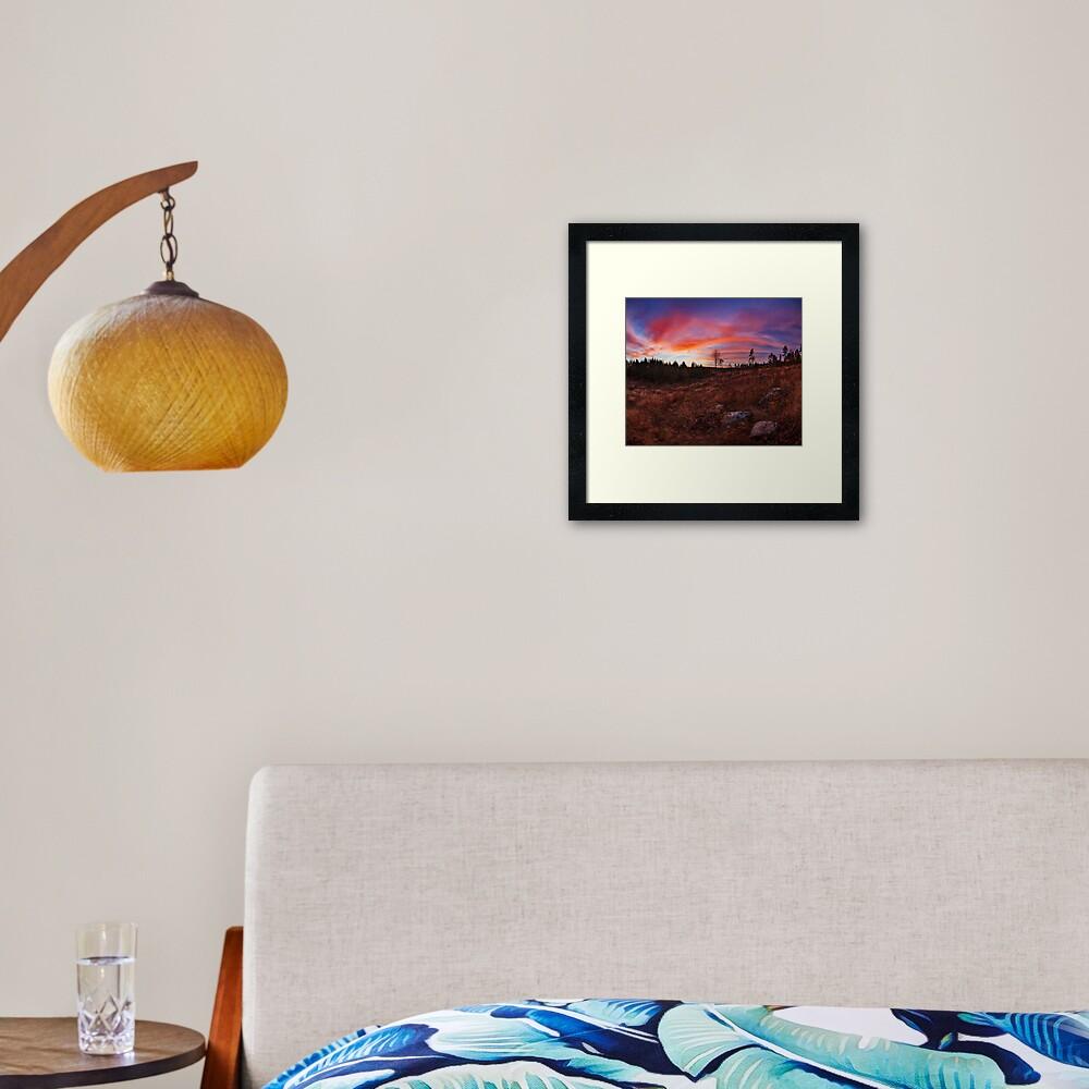 Beautiful vibrant sunset clouds landscape Framed Art Print
