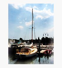 Docked Cabin Cruiser Photographic Print