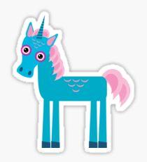 Funny blue unicorn pink  Sticker