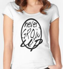 Never grow up. Women's Fitted Scoop T-Shirt