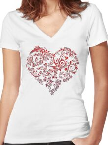vintage red heart heart and flowers Women's Fitted V-Neck T-Shirt