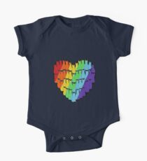 Rainbow Cat Heart One Piece - Short Sleeve