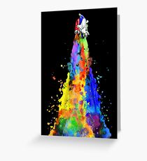 Rainbow Spaceship Dark Background Greeting Card