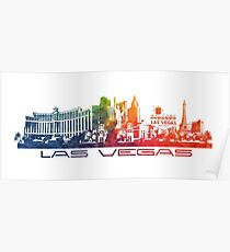 Las Vegas skyline colored Poster