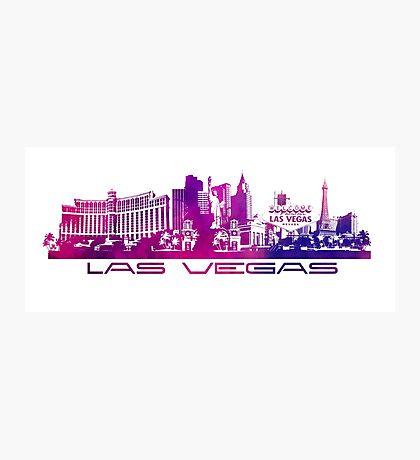 Las Vegas skyline purple Photographic Print
