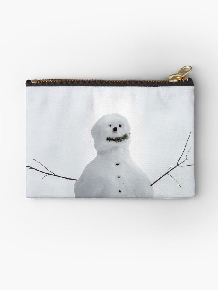 Big snowman waiting for children, winter day, childhood by Alexander Sorokopud