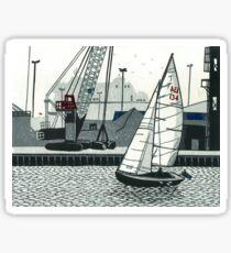Poole Quay - Original linocut by Francesca Whetnall Sticker