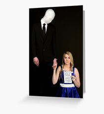 Slender Man and friend cosplay Greeting Card