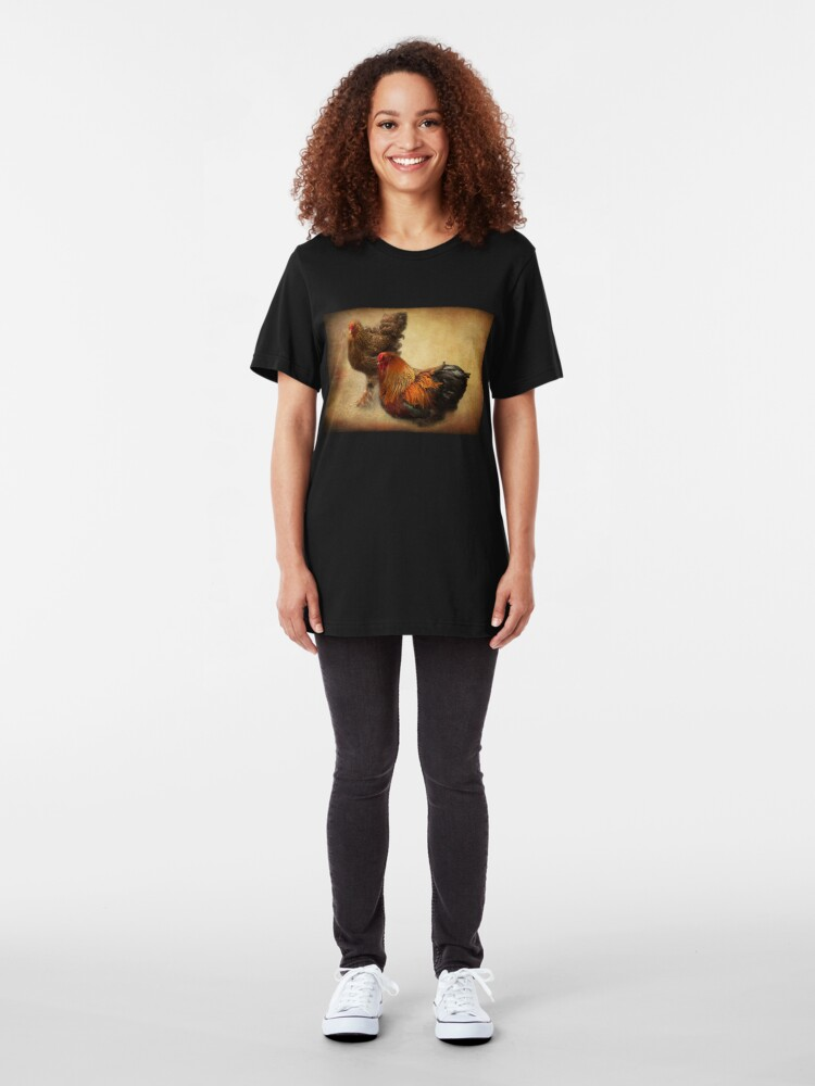 Alternate view of Rooster and hen Slim Fit T-Shirt
