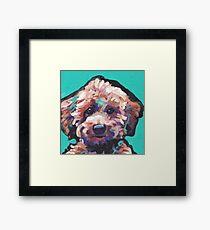 Toy Poodle Dog Bright colorful pop dog art Framed Print